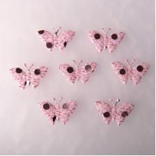 Аппликация Бабочка, бледно-розовый с блёстками (EM-00071)