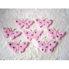Аппликация Бабочка, бледно-розовый с блёстками (EM-00025)