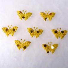Аппликация Бабочка, жёлтый с блёстками (EM-00073)
