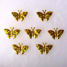 Аппликация Бабочка, золото, голографический (EM-00086)