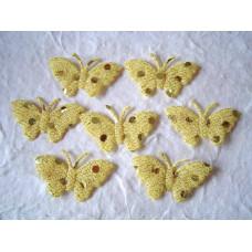 Аппликация Бабочка, бледно-жёлтый с блёстками (EM-00032)