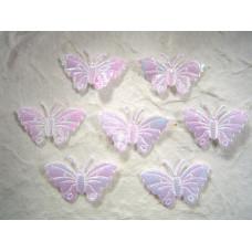 Аппликация Бабочка, белый металлик (ЕМ-00005)