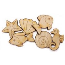 Набор деревянных пуговиц-украшений Морские жители (5500C-800)