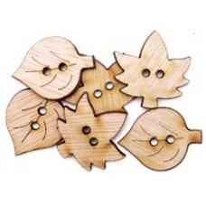 Набор деревянных пуговиц-украшений Листья (5500C-801)