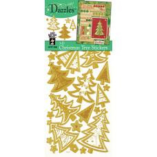 Наклейки объемные Елочки 3-D Christmas Trees Dazzles Gold, золото (2088)