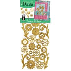 Наклейки объемные Цветы 3-D Flowers Dazzles Gold, золото (2078)