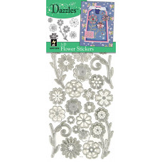 Наклейки объемные Цветы 3-D Flowers Dazzles Silver, серебро (2079)