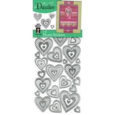 Наклейки объемные Сердечки 3-D Hearts Dazzles Silver, серебро (2085)