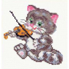 Набор для вышивания крестиком Чудесная игла Котёнок-музыкант (15-06)