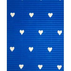 Гофрокартон мелкий синий, Сердца (UR-10222234R)