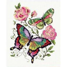 Набор для вышивания крестиком Чудесная игла Бабочки и розы (42-04)