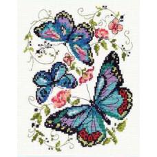 Набор для вышивания крестиком Чудесная игла Синие бабочки (42-03)