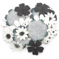 Бумажные цветы Bag of Blooms, Черно-Белые (709)