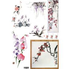 Декупажная карта Цветы в китайском стиле (ЕВ-Д011)
