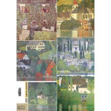 Декупажная карта Густав Климт пейзажи (ЕВ-Д014)