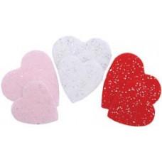 Комплект Сердца с глиттером из фетра на самоклейке (1GLMSHP 01262)