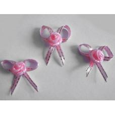 Бантики из ленты с розочкой, розовый (RB00059)