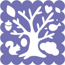 Трафарет для резака Дерево, птицы, тучки (5267)