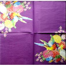 Салфетка Попугаи и цветы (249)