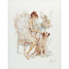 Девушка в кресле с собакой - Girl in Chair with Dog (PN7951)