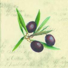 Салфетка Веточка оливы на кремовом фоне (389)