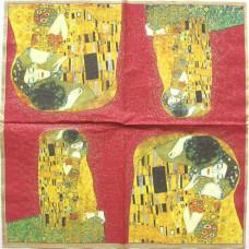 Салфетка Климт.Поцелуй (на красном фоне) (650)