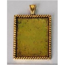 Основа для кулона прямоугольная, античное золото (977530)
