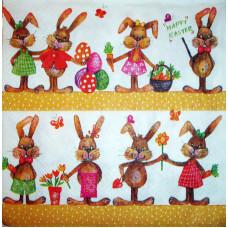 Салфетка Веселые пасхальные зайцы (807)