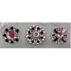 Наклейки из половинок жемчужин и стразов, Silver/Black (530914 - 1), эконом-пакет