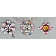 Наклейки из половинок жемчужин и стразов, Pink/Silver (530969-1), эконом-пакет