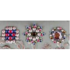 Наклейки из половинок жемчужин и стразов, Pink/Silver (530969-4), эконом-пакет