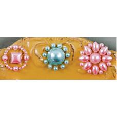 Наклейки из половинок жемчужин и стразов, Pink/Blue  (530853-1), эконом-пакет