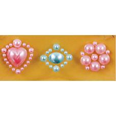 Наклейки из половинок жемчужин и стразов, Pink/Blue (530853-2), эконом-пакет