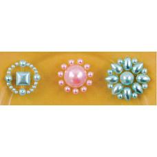 Наклейки из половинок жемчужин и стразов, Pink/Blue (530853-3), эконом-пакет