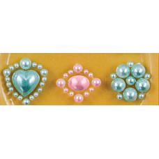 Наклейки из половинок жемчужин и стразов, Pink/Blue (530853-4), эконом-пакет
