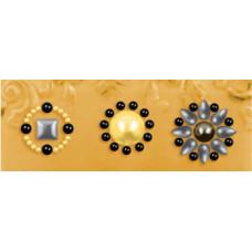 Наклейки из половинок жемчужин и стразов, Olive (530884-1), эконом-пакет