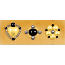 Наклейки из половинок жемчужин и стразов, Olive (530884-2), эконом-пакет