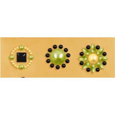 Наклейки из половинок жемчужин и стразов, Olive (530884-3), эконом-пакет