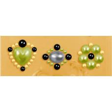 Наклейки из половинок жемчужин и стразов, Olive (530884-4), эконом-пакет