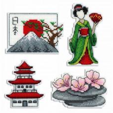 Набор для вышивания крестом М.П.Cтудия Япония. Магниты (Р-336)