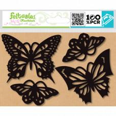 Набор бабочек из фетра (термоаппликация), черный (FEL100.49791)