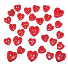 Набор пуговиц-украшений Коллекция красных сердечек (242)