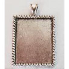 Основа для кулона прямоугольная, античное серебро (987584)