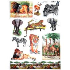 Бумага для декупажа Животные Африки, 60г/м2 (06861)