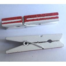 Прищепка декоративная, белая с красными блестящими полосками (007)
