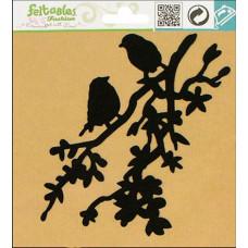 Птички на ветке из фетра (термоаппликация), черный (FEL100.49866)