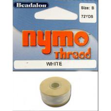 Нитка для бисероплетения Nymo Thread Size B, белая (122-1.A)