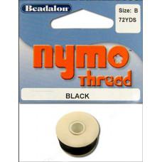 Нитка для бисероплетения Nymo Thread Size B, черная (122-1.T)