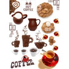 Декупажная карта Завтрак.Кофе с печеньем (ЕВ-Д033)