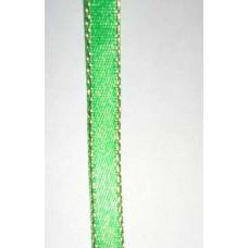 Атласная лента с люрексовой нитью, ярко-зеленая, 6мм